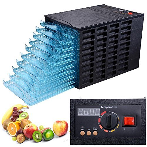 Black 630W 10 Tray Electric Commercial Home Dehydrator Digital Timer Jerky Fruit Vegetable Food Dryer