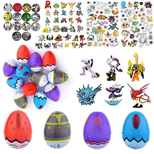 Totem World Party Favor Supplies - 12 Pokemon Theme 3 Print Plastic Easter Egg with Assorted Figurine, Stickers, Pin and More - Ready to Fill Plastic Eggs