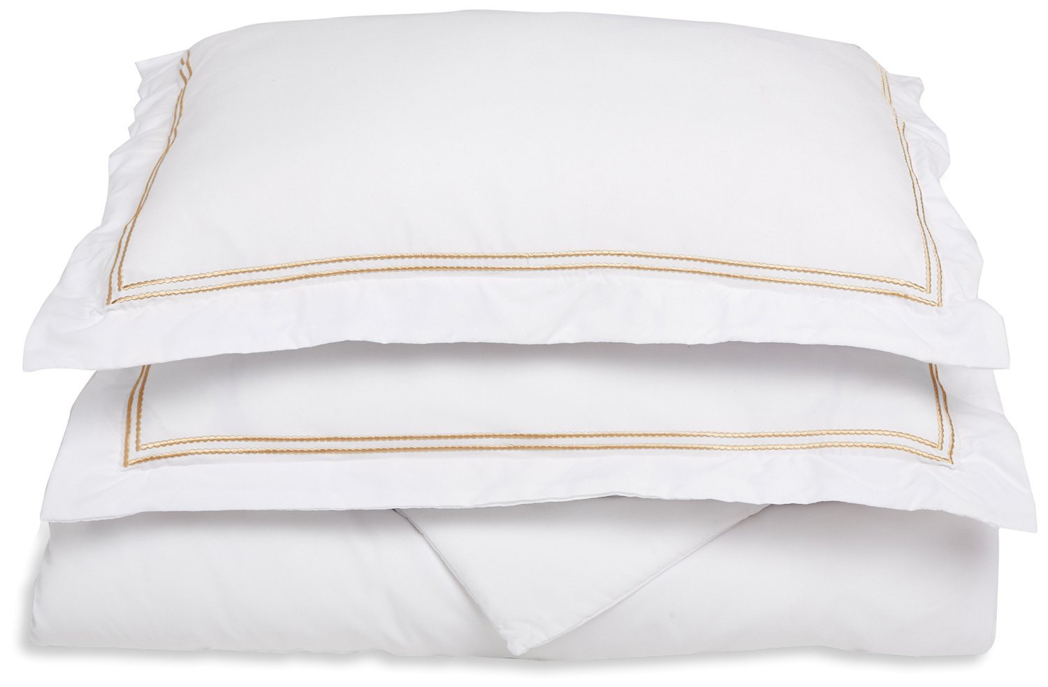 Super Soft, Light Weight, 100% Brushed Microfiber, Twin/Twin XL, Wrinkle Resistant, White Duvet Cover with Gold 2-Line Embroidered Pillowshams in Gift Box