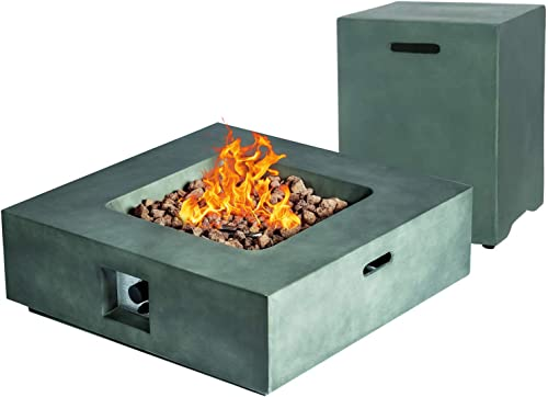 AMKV Outdoor Propane Fire Pit Table, 50,000 BTU Square Dark Green Artificial Stone Fire Pit Table and Propane Tank Cover with Free Lava Rock for Gardens, Backyards and Terraces.