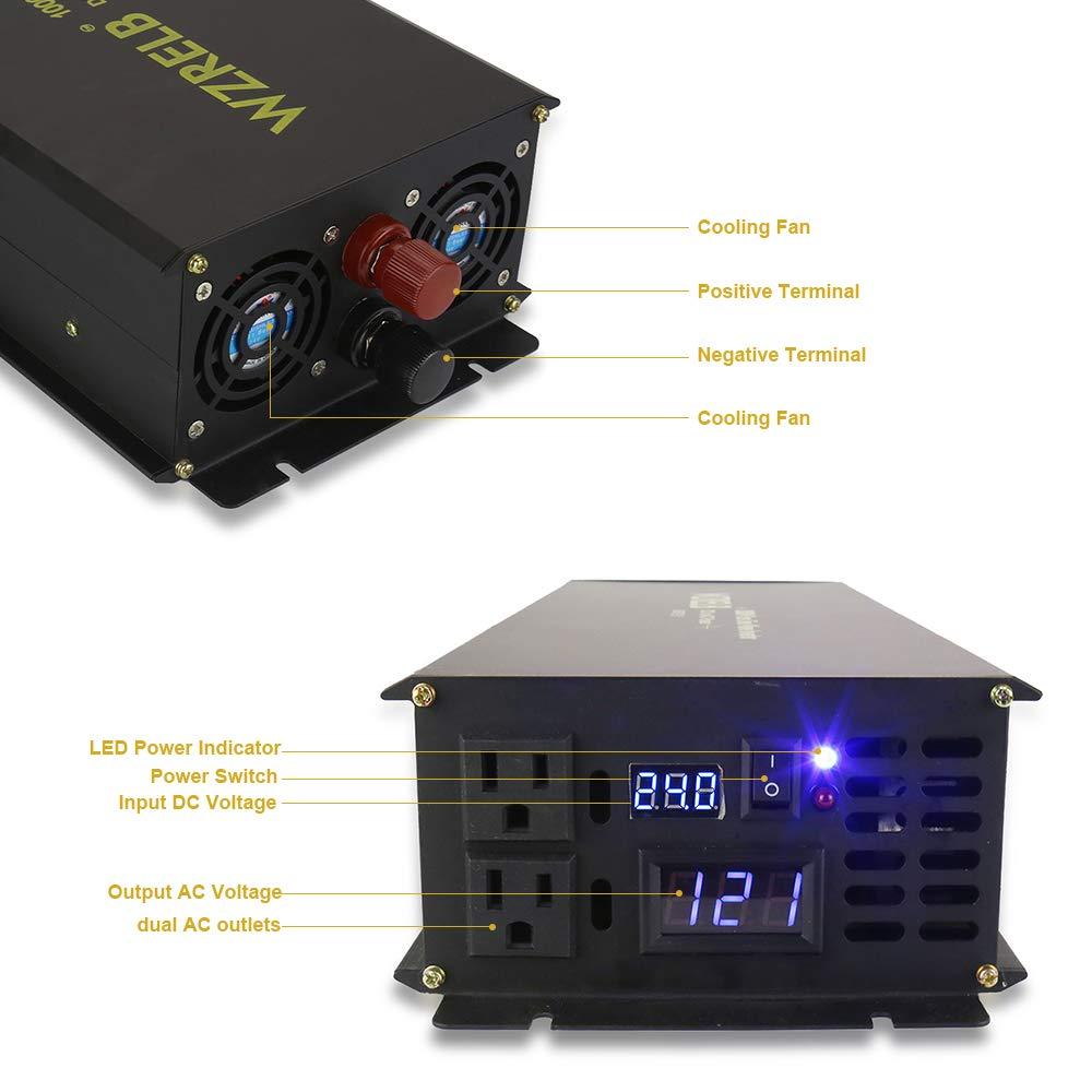 WZRELB 1000W 24V Off Grid DC to AC Pure Sine Wave Solar Power Inverter Home Power Supply Generator (1000W 24V)