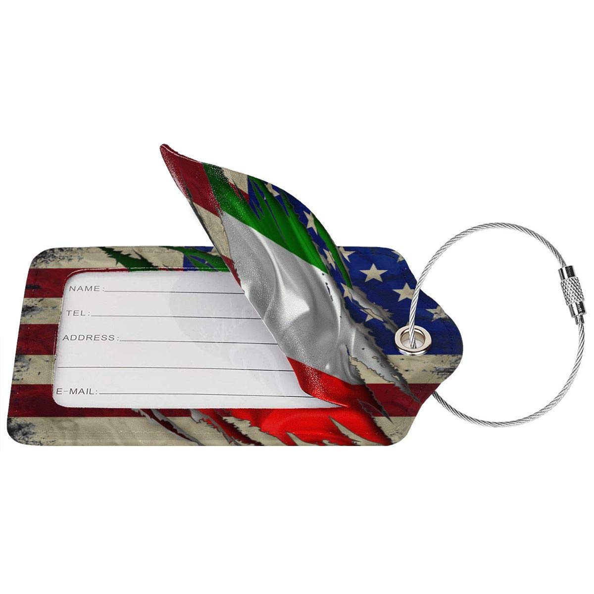 GoldK Italian American Flag Leather Luggage Tags Baggage Bag Instrument Tag Travel Labels Accessories with Privacy Cover