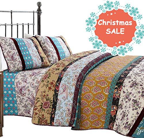 Brandream Luxury Boho Bedding Sets Patchwork Quilt Queen Size Set Vintage Comforter Set 100% Cotton Quilted Bedspreads