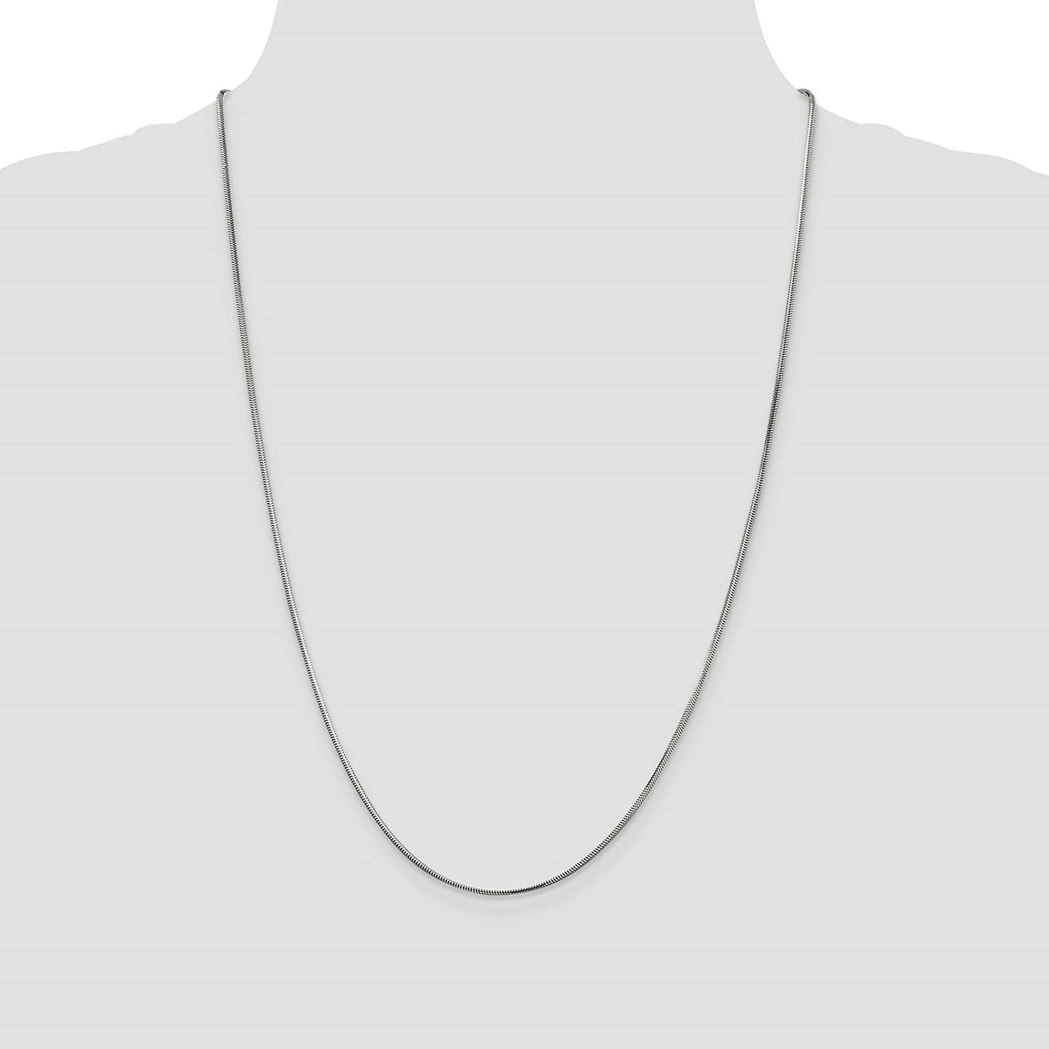925 Sterling Silver 1.5mm Diamond-cut Flat Snake Chain Necklace 7-24