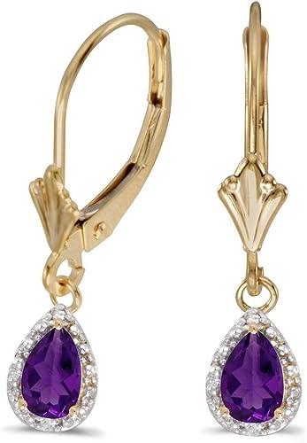 10k Yellow Gold Pear Amethyst And Diamond Earrings