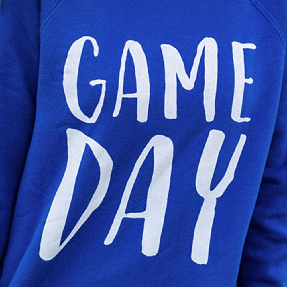 Nlife Women Game Day Letter Print Shirt Crew Neck Long Sleeve Casual Style Solid Sweatshirt Tops Blouse by Nlife (Image #5)