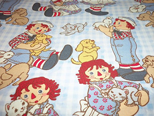 Raggedy Ann & Andy Fabric Checks Puppy BTFQ New