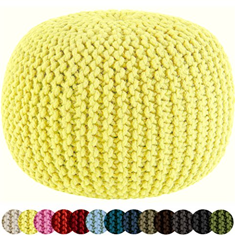 (Cotton Craft - Hand Knitted Cable Style Dori Pouf - Yellow - Floor Ottoman - 100% Cotton Braid Cord - Handmade & Hand Stitched - Truly one of a Kind Seating - 20 Dia x 14 High)