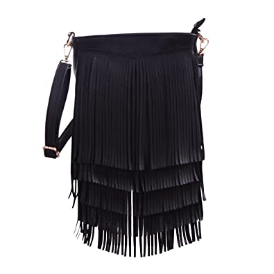 235ce602e1 HDE Women s Leather Hobo Long Fringe Crossbody Tassel Purse Small Handbag