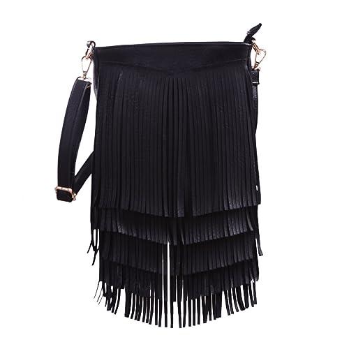 9a303e1ed069 Amazon.com  HDE Women s Leather Hobo Long Fringe Crossbody Tassel Purse  Small Handbag  Shoes