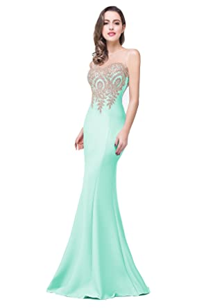 2a4d9125407f Elegant Lace Appliques Women Formal Long Mermaid Evening Gowns Prom Party  Dress, 12, Mint Green at Amazon Women's Clothing store: