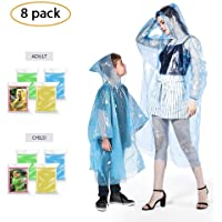 FIREOR Rain Poncho, Ponchos Family Pack for Adults and Kids, Extra Thick Reusable Women and Men's Emergency Raincoat for Disney - 8 Pack