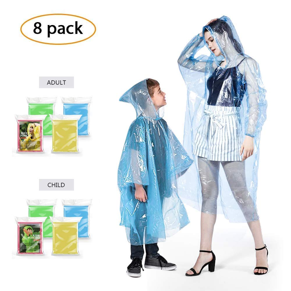 FIREOR Rain Poncho, Ponchos Family Pack for Adults and Kids, Extra Thick Reusable Women and Men's Emergency Raincoat for Disney - 8 Pack by FIREOR