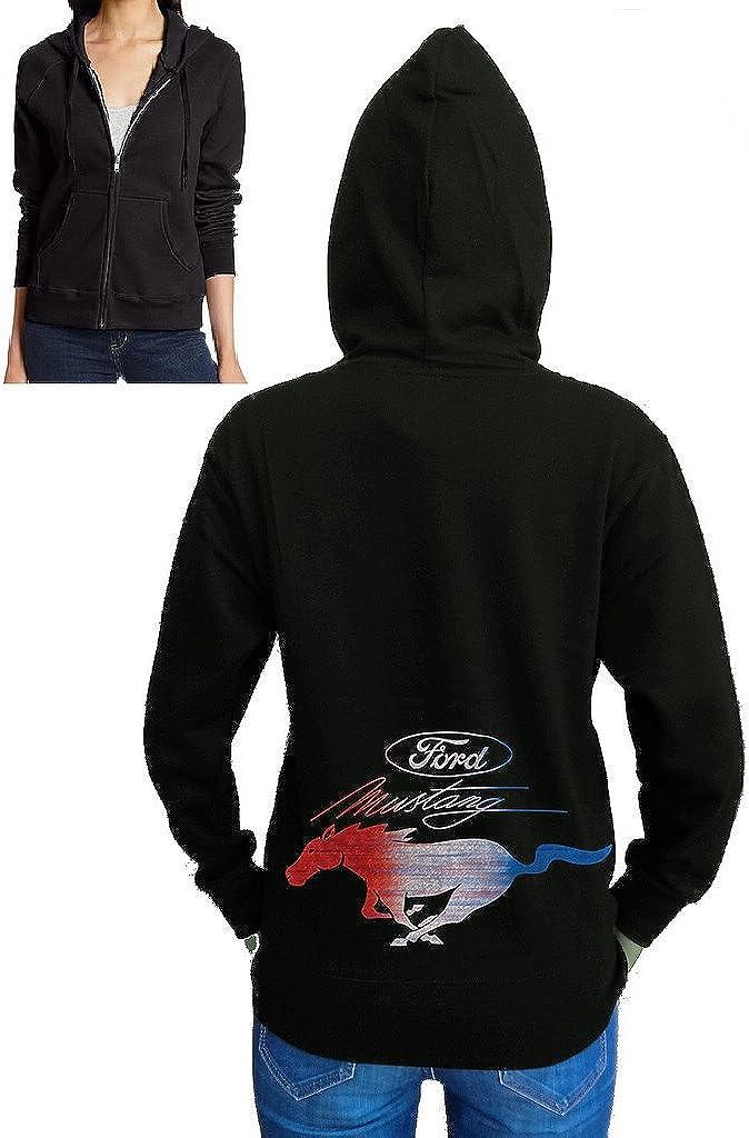 Juniors RWB Ford Mustang Black Fleece Zipper Hoodie Black