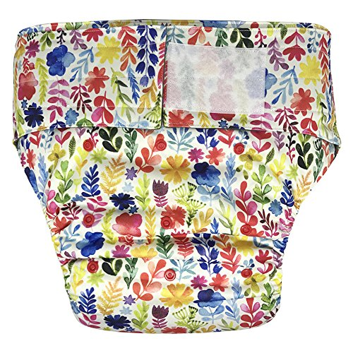 EcoAble Teen & Adult Incontinence Cloth Diaper with Charcoal Bamboo Insert Pad, Hook-&-Loop, One Size (Flower)