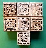 Continent/Passport Rubber Stamp Frames, Set of 7