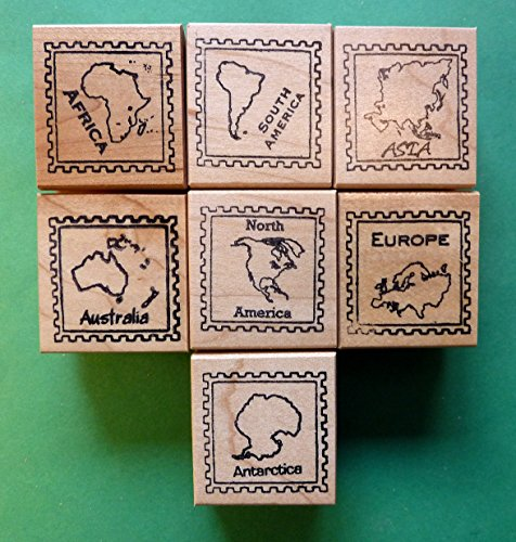 Continent/Passport Rubber Stamp Frames, Set of 7