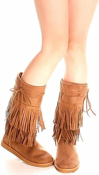 Girls Fringe Boots Tan with Fur Lining