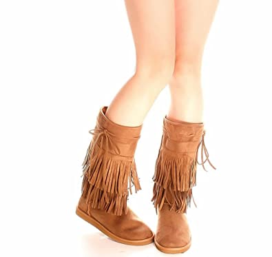 80047a2c3 Amazon.com | Girls Fringe Boots Tan with Fur Lining/Toddler/Kid ...