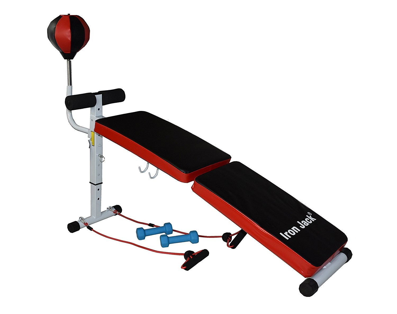 Iron Jack Curved Weight Bench Adjustable Folding Bench Incline 54 with boxing speed ball