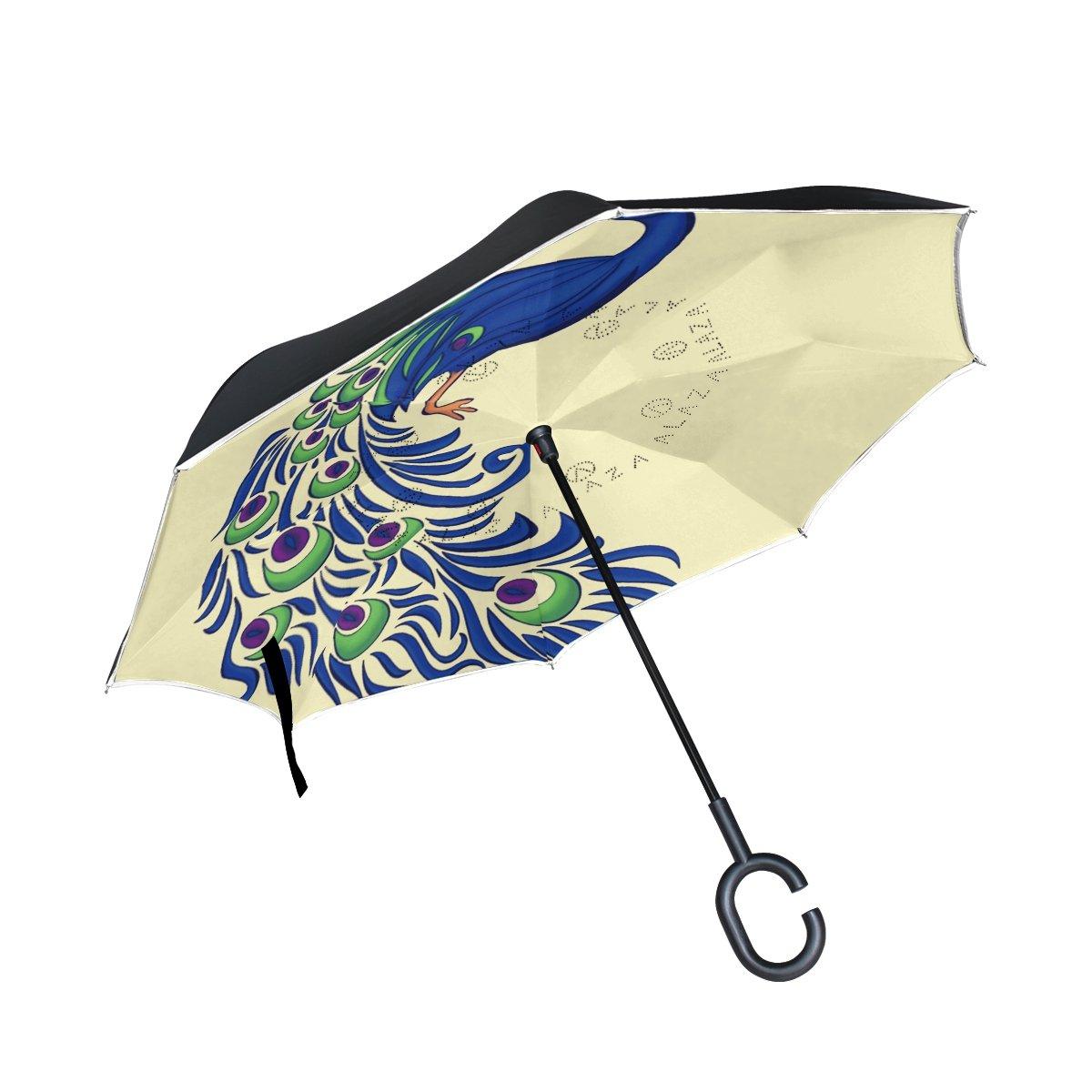 FOLPPLY inversé Parapluie Mignon Caméléon, Double Couche Envers Parapluie pour Voiture Pluie étanche d'extérieur avec Poignée en Forme de C
