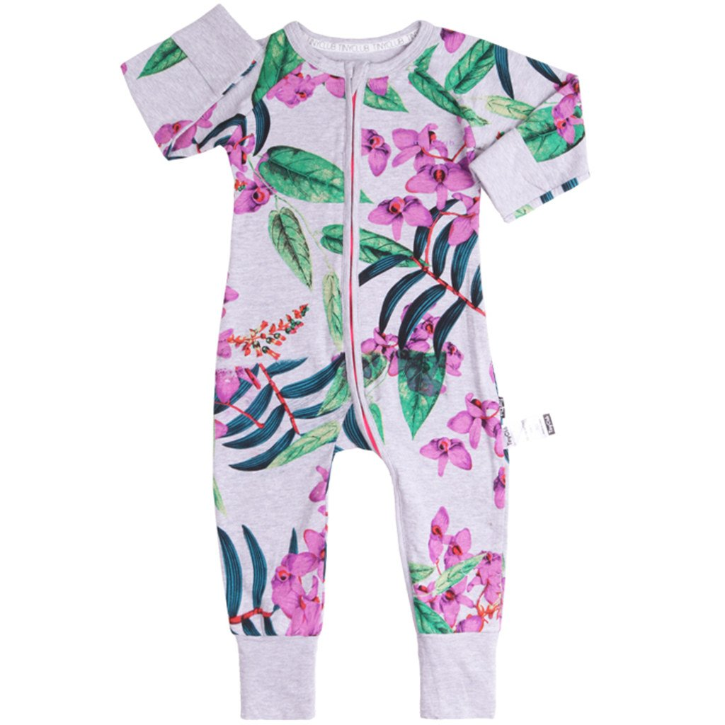 Vine Baby Girls Rompers Sleepsuit Cotton Pajamas Onesies Jumpsuit Zipper Outfits, 3-6 Months C170327PF00131V
