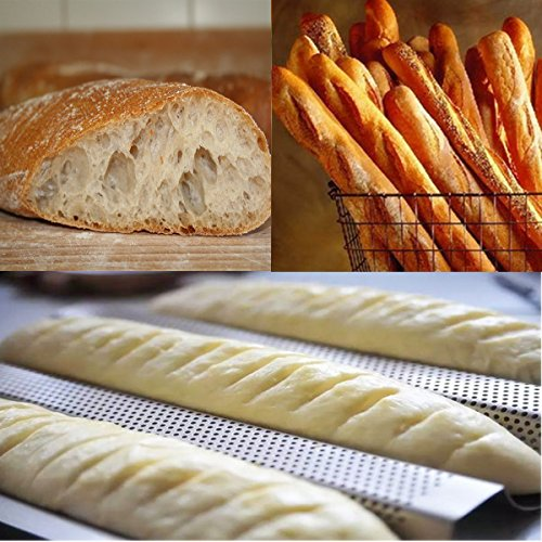 Amagabeli Nonstick Perforated Baguette Pan 15'' x 13'' for French Bread Baking 4 Wave Loaves Loaf Bake Mold Toast Cooking Bakers Molding 4 Gutter Oven Toaster Pan Cloche Waves Silver Steel Tray Italian by AMAGABELI GARDEN & HOME (Image #5)