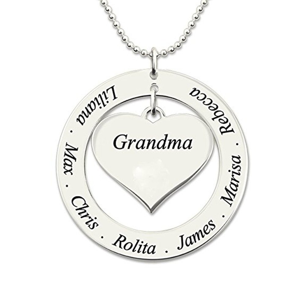 81e708f37ba3c FUJIN Personalized 925 Sterling Heart Family Necklace Custom Made with Any  Names