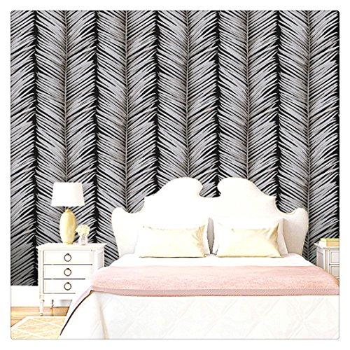(HaokHome 66079 Embossed Modern Wallpaper Rolls Black/Mushroom Banana Leaf Textured Wall Decoration 20.8