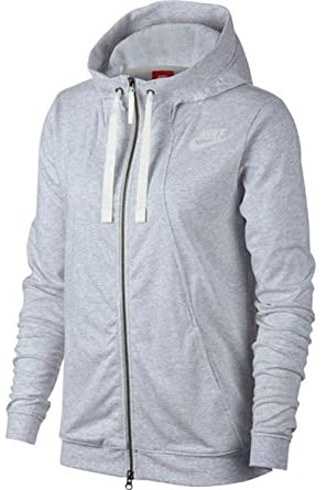 ec8a4aaf7 Image Unavailable. Image not available for. Color: Nike Gym Classic Full  Zip Hoodie (Birch Heather/Sail) Women's ...