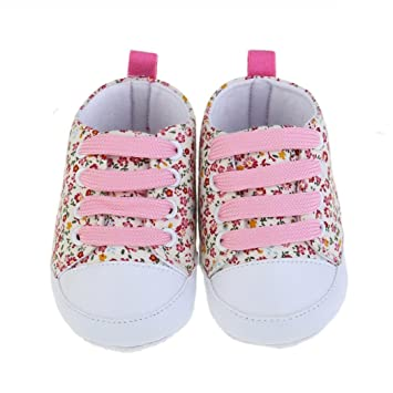 54f12f23d72bb Kingko® Baby Girl Toddler Soft Soled Anti-slip Baby Canvas Floral Shoes  Sneaker (