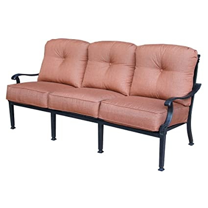 Darlee Charleston Outdoor Sofa with Cushions in Antique Bronze