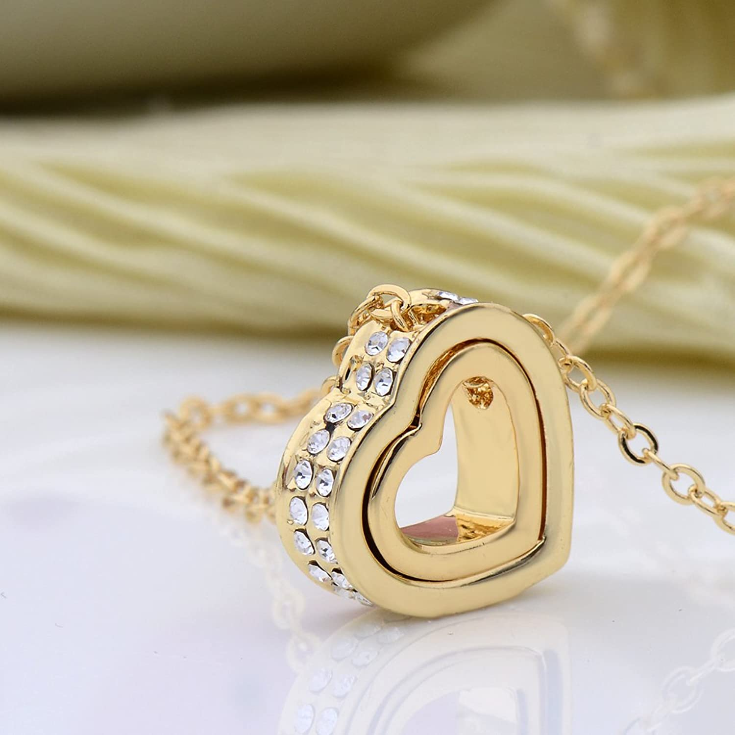 Amazon xingzou jewelry for women 18k gold plated double heart amazon xingzou jewelry for women 18k gold plated double heart necklace pendant with swarovski elements crystal jewelry mozeypictures Gallery