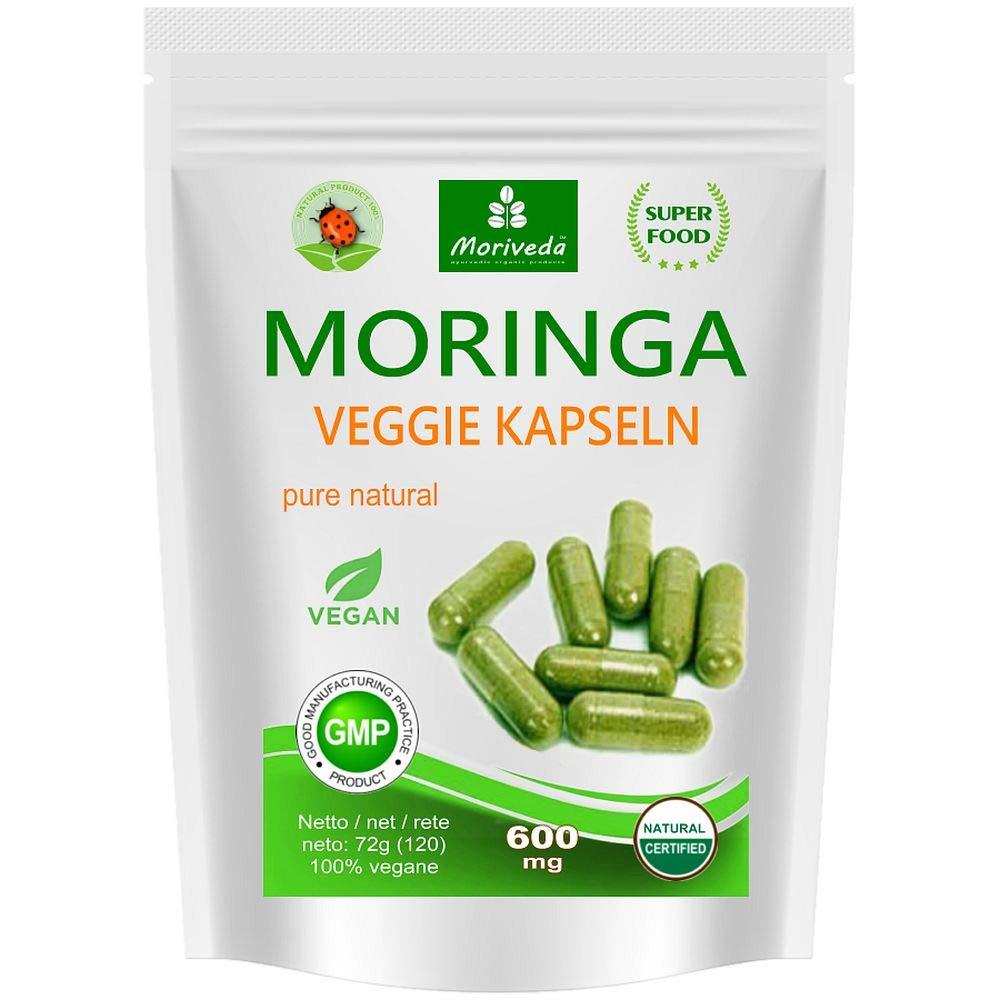 Moringa Kapseln 120 VEGGIE Oleifera hochdosiert 600mg - 100% vegane Rohkost (1x120 Kapseln) product image