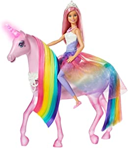 Barbie Dreamtopia Magical Lights Unicorn with Rainbow Mane, Lights and Sounds, Barbie Princess Doll with Pink Hair and Food Accessory, Gift for 3 to 7 Year Olds, Multi, Única