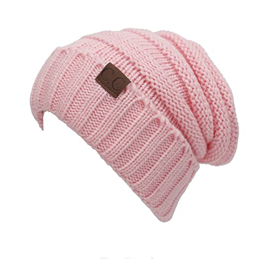 Women s Beanie Trendy Warm Oversized Chunky Soft Bun Tail Solid Knitting  Slouchy Hat Cap for Winter 6264dbed0891