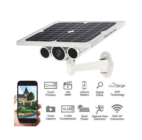Wj Cámara IP De 1080P, Panel Solar Wi-Fi Seguridad para El Hogar Cámara