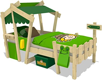 WICKEY Cuna CrAzY Candy Cama para niños Cama infantil 90x200cm con somier de madera, amarillo-verde manzana