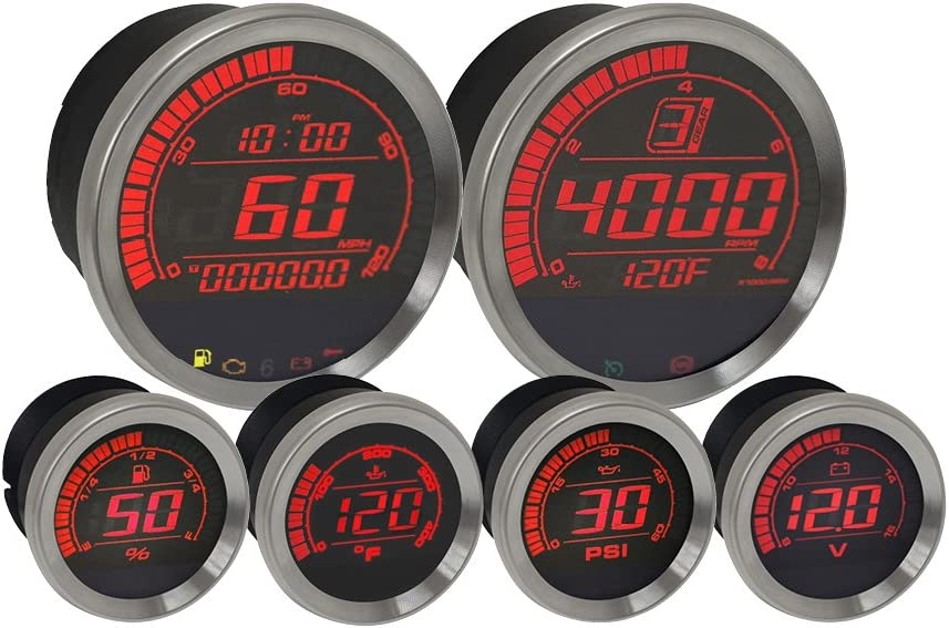 Koso BA050905 HD-02 Kit With Oil Temp (6 Pcs Kit - Silver Bezel)