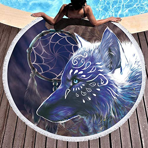 Bonsai Tree Wolf Beach Blanket, Dream Catcher Native American Round Beach Towel Blanket with Fringe Tassels, Animal Meditation Rug - 59 Inches