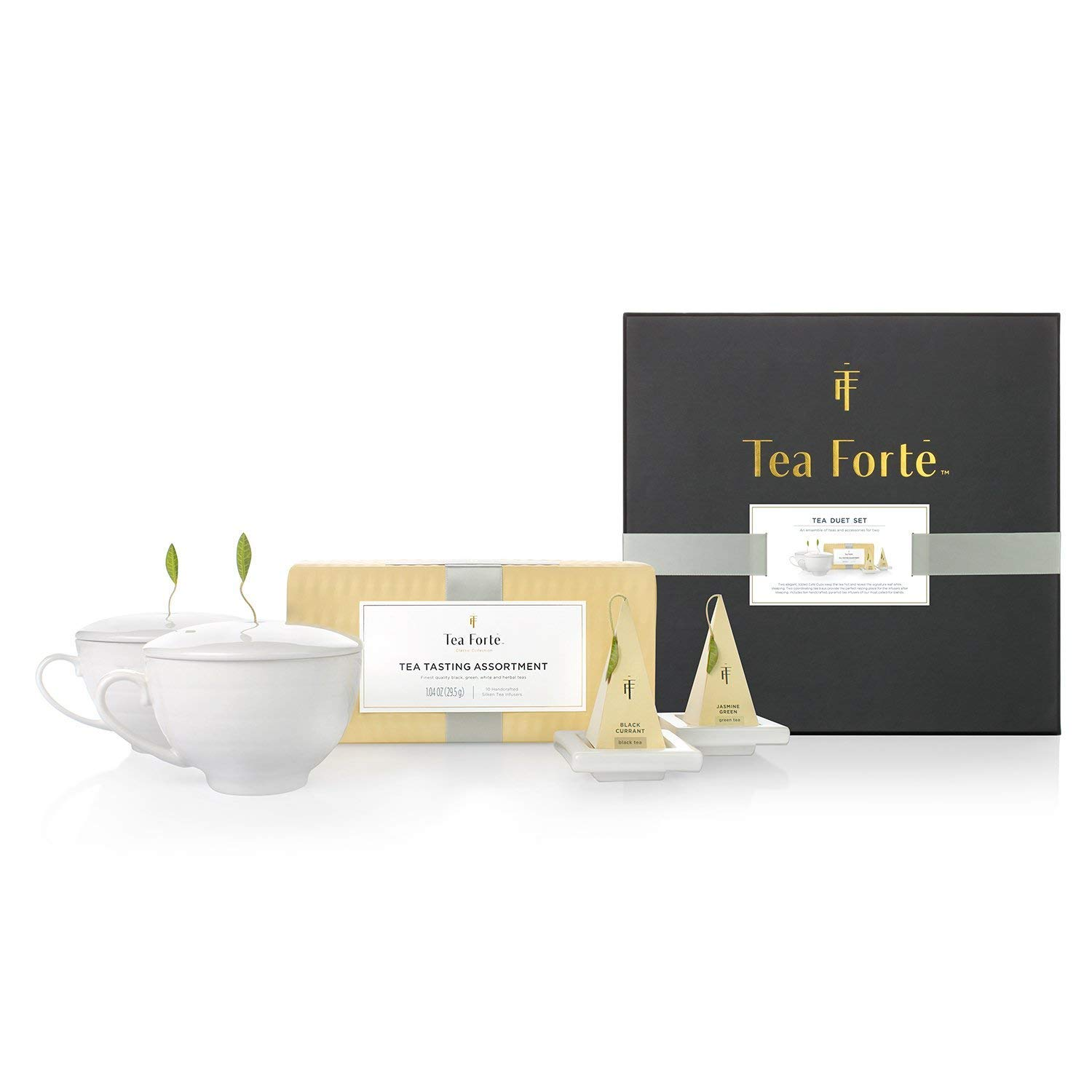 Tea Forte Duet Gift Set with Tea Tasting Petite Presentation Box, Two Cafe Cups with Lids and Two Tea Trays by Tea Forte