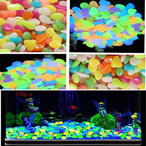 shun yi Pebbles, Pebbles for vases Colored Stones Glow in The Dark Stones Polished Gravel Outdoor Decorative Stones, Fish Tank Aquarium, Landscaping, Vase Fillers, (Luminous Stone 100pcs)