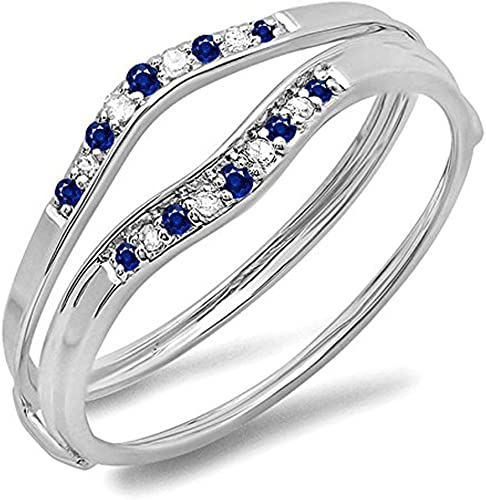 0.12 CT 10K Yellow Gold Blue /& White Diamond Ladies Enhancer Guard Wedding Band