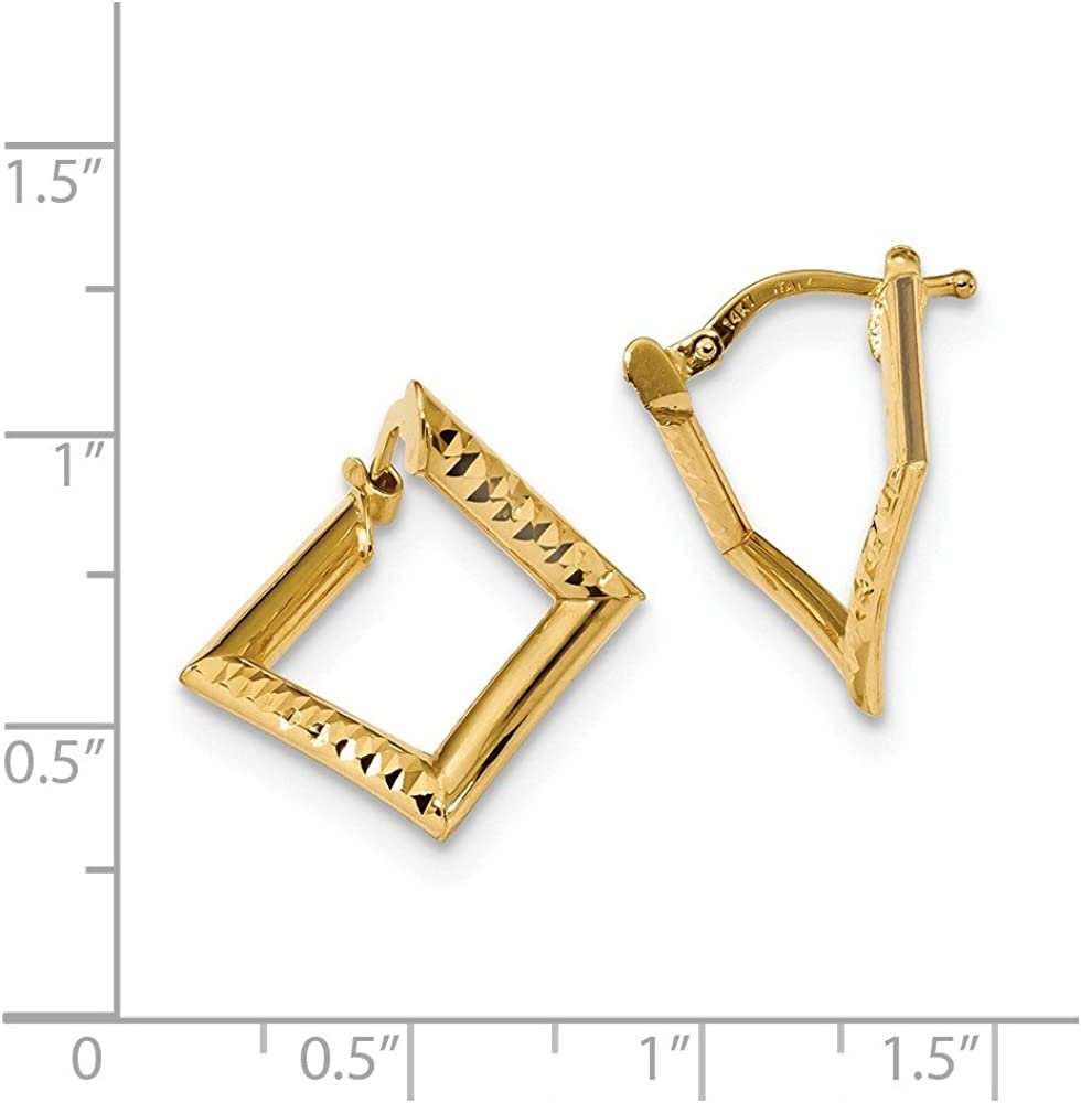 14kt Yellow Gold Gold Polished Twisted Princess Square Earrings