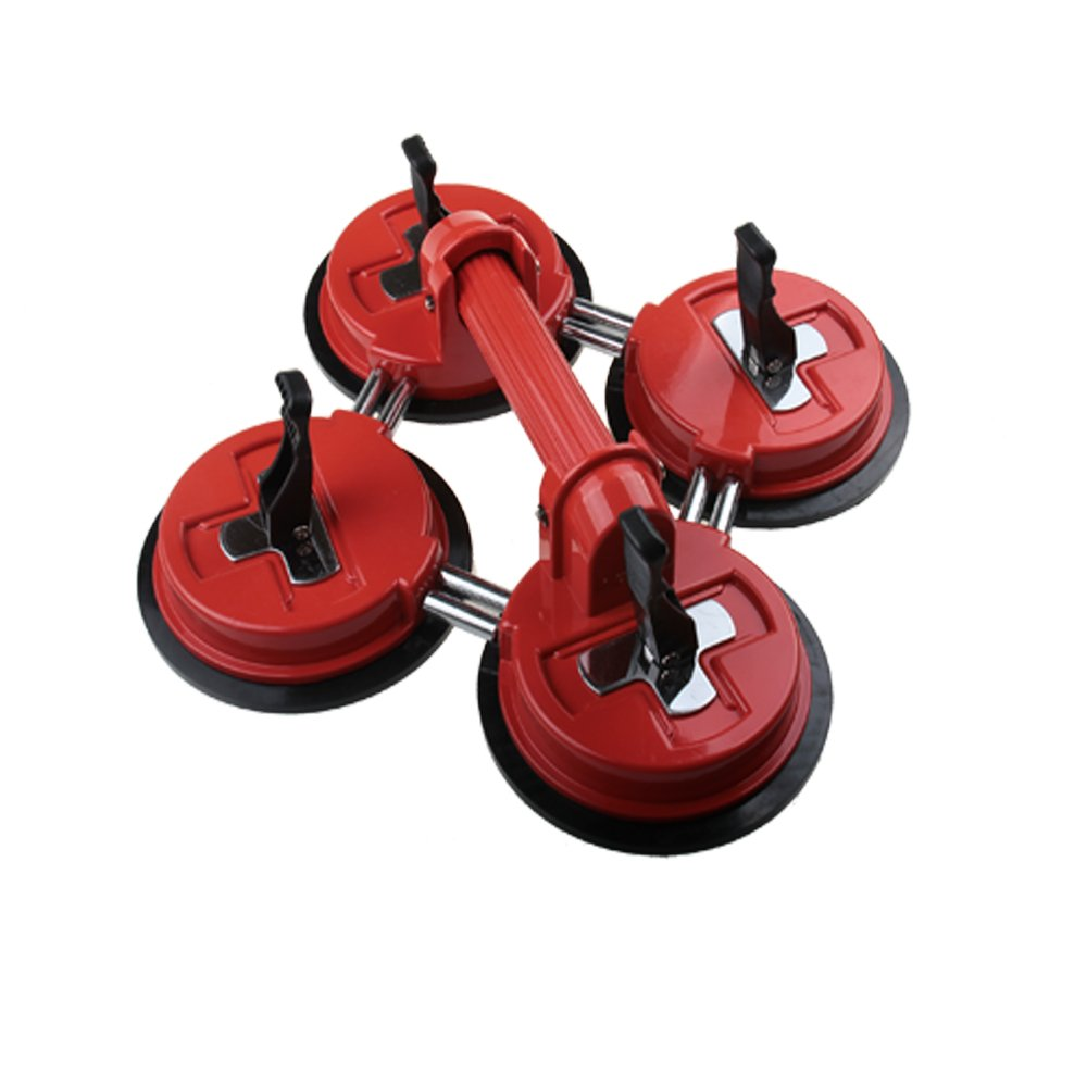 Qadira Heavy Duty Movable Aluminum 4 in 1 Orange-Red Handle Suction Cup Plate Professional Glass Puller / Lifter / Gripper