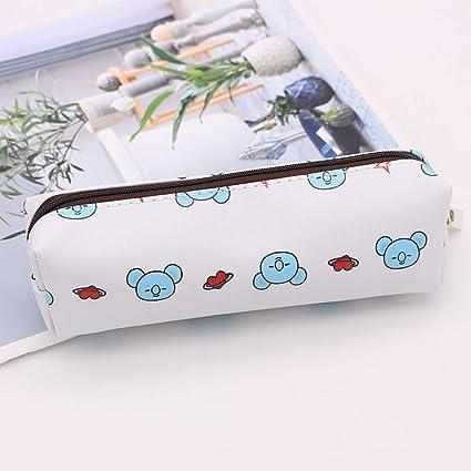 BTS Estuche de lápices de poliuretano con dibujos animados, estuche de papelería, monedero, simple bolsa de almacenamiento de papelería casual, color 3.: Amazon.es: Oficina y papelería