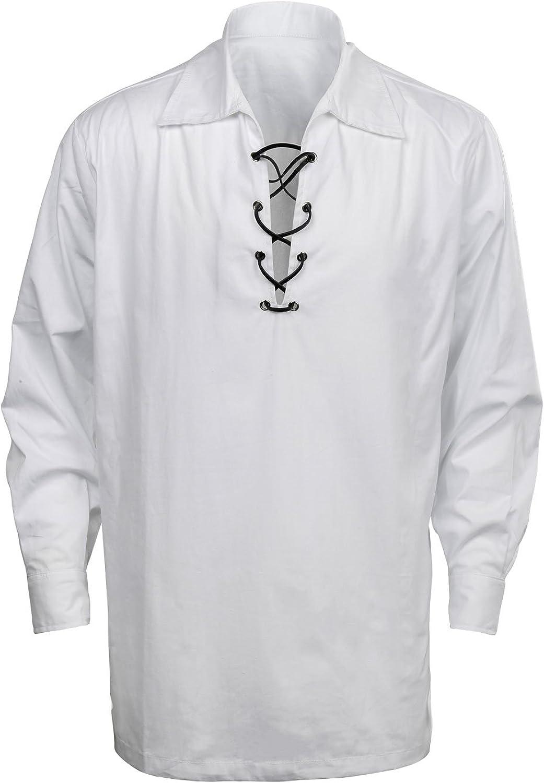 CUSFULL Chemise à carreaux pour hommes Style jacobite Kilt médiéval Costume à manches longues classique du Moyen Âge en Écosse Vêtements vintage