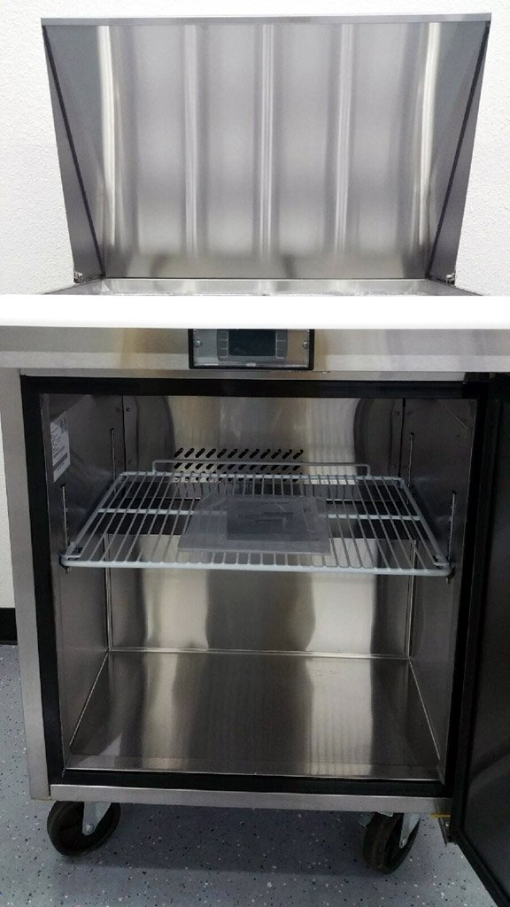 28'' 1 Door Commercial Refrigerated Mega Top Salad Sandwich Prep Station Table Cooler Fridge, MSF8305, 12 Pans INCLUDED, 8 Cubic Feet, Cutting Board, for Restaurant