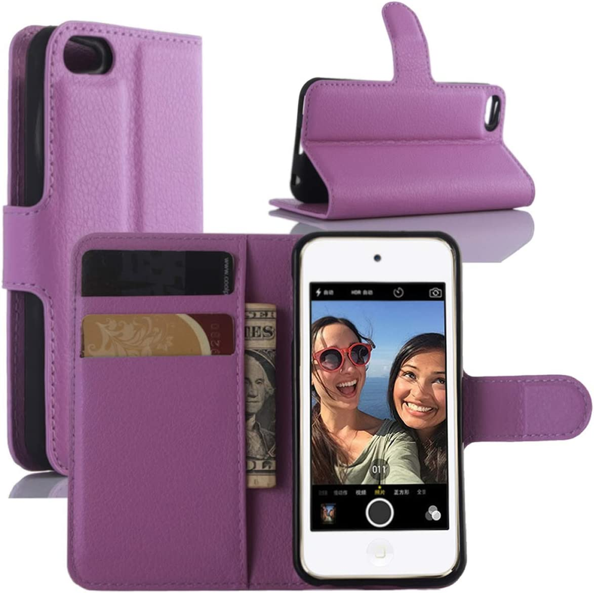 HualuBro iPod Touch 7 Case, Premium PU Leather Wallet Flip Folio Shockproof Phone Case Cover with [Kickstand] [Card Slots] [Magnetic Closure] for Apple iPod Touch 7th Generation 2019 (Purple)