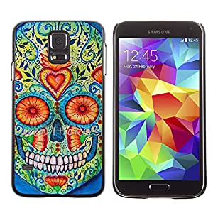 TikTakTok Hard Protective Back Case Skin Cover for Samsung Galaxy S5 SM-G900 - Heart Skull Daisy Floral Death Spring